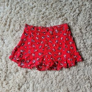 American eagle red floral summer shorts
